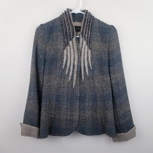 Elie Tahari | Wool/Silk Blend Tweed Fringe Jacket